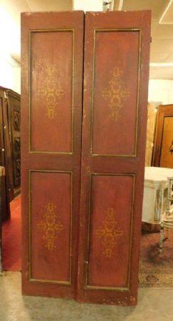 ptl432 porta laccata rossa, fine '700, 102x238 h cm x3 cm spessore