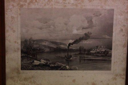 Stampa dell'800 XIX sec. con vetro e cornice raffigurante paesaggio con battello