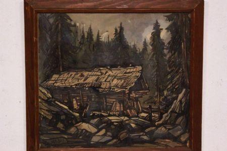 Quadro acquerello su carta watercolor raffiguante paesaggio landscape art signed