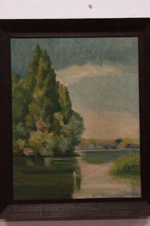 Dipinto olio su tela raffigurante paesaggio con alberi e fiume painting oil