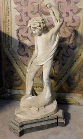 dars241 statua con fanciullo,  primi '900 in cemento, h cm 135 x 45 x 50 cm