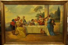 Dipinto Italiano di una scena galante seconda metà del novecento, firmato