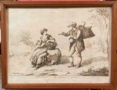 """Incisione """"Donna del paese di Pietra Ferrazana e il Gioncalaro"""" realizzata da Bartolomeo Pinelli"""