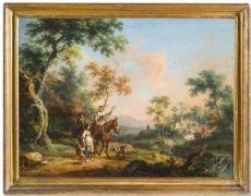 Vittorio Amedeo Cignaroli (Torino 1730 - 1800) - Paesaggio con viandanti e armenti