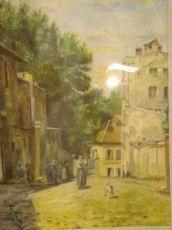 """Tabella gouache pittura """"Rue St-Vincent a Montmartre"""" firmato Coret"""