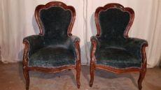 coppia di poltrone in stile antico Luigi Filippo seconda metà 1900 AFFARE