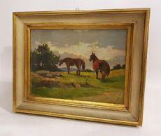 Dipinto Toscano con Cavalli Anonimo