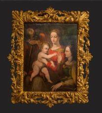 """CAPOLAVORO - SPOSALIZIO MISTICO DI SANTA CATERINA - olio su tavola di GIOVANNI BATTISTA RAMENGHI detto il """"BAGNACAVALLO IUNIOR"""" - 1570 ca."""
