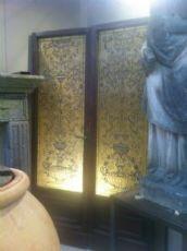 Coppia di porte Liberty con vetro piombato