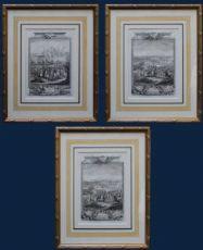 século XVIII, três séries de incisões que descreve as batalhas e cercos