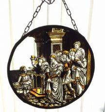 Antico vetro raffigurante scena biblica