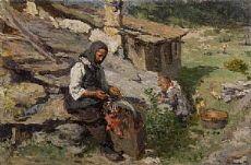 Malga alpina con madre e bimba 1910 circa