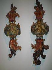 Laqué sculptures en bois polychrome