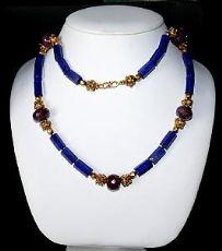Collana con 5 rubini naturali sfaccettati - lapis barilot