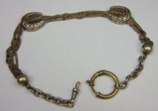 Catena da orologio in argento con saliscendi a forma di ferro di cavallo, metà '800