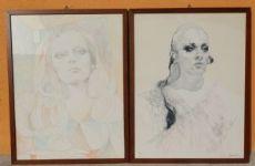 due disegni: figure femminili firmate
