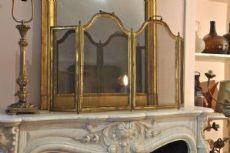 camino in marmo bianco di carrara con il riduttore e accessori vari Napoleone III
