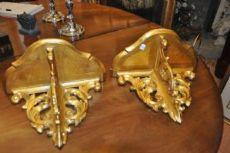 Coppia mensoline in legno dorato