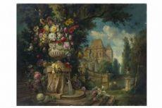 画描绘鲜花和架构的对