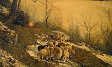 Pintura que representa el pastoreo de ovejas