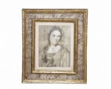 Ritratto di donna entro cornice laccata Maestro Umbro-Marchigiano Sec XVII