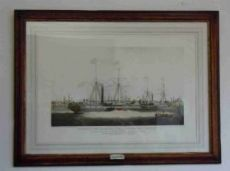 """Grande Gravure en couleur Ecole Anglaise intitulée """"the ships of the steam of navigation"""""""