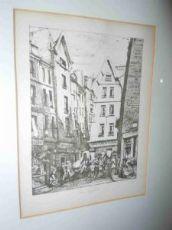 """Gravure signée Charles Méryon""""Rue Pirouette aux Halles"""""""