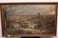 Dipinto Paesaggio cittadino, olio su tela firmato e datato J R Dulier, painting