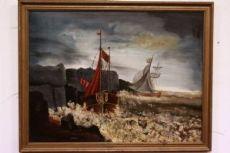 Grand peint avec cadre photo coup de vent d'huile sur toile signée et datée Piget 14/08/1911