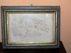 Grazioso disegno a china su carta raffigurante Santa con angeli, in cornice laccata e dorata