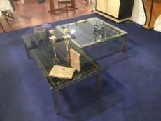 Coppia tavolini metallo ottone e vetro anni 70 Manifattura Italiana