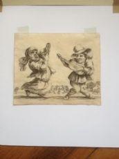 Stefano della Bella (Firenze 1610 - 1644) Acquaforte originale - caricatura di musicanti