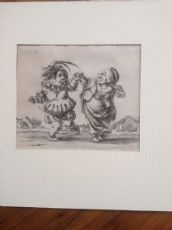 Stefano della Bella (Firenze 1610 - 1644) Acquaforte originale - caricatura di nani danzanti