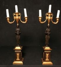 Pair of gilt bronze candlesticks and burnished France first empire