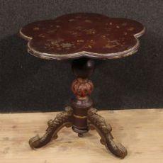 Table de café français en bois laqué et doré du XXe siècle
