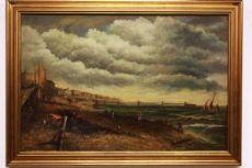 antiga '800 óleo sobre tela com moldura, paisagismo / pintura / antigo do século XIX