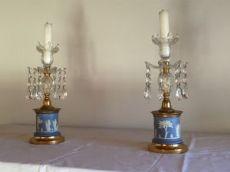 Coppia di candelabri in bronzo porcellana e cristallo - ottocento