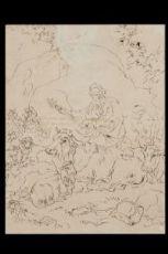 Франческо Londonio Три чертежи фигур в сельский пейзаж с крупного рогатого скота