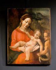 """CAPOLAVORO - MADONNA COL BAMBINO E SAN GIOVANNINO - olio su tavola di ANTONIO ALLEGRI detto """"il CORREGGIO"""" (Correggio c. 1489 – ivi 1534) – (Scuola di)"""