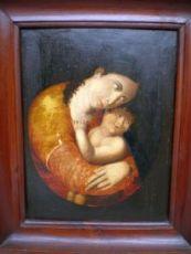 dipinto dell'800 Madonna con Bambino