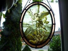 Bella vetrata San Michele di Raffaello /Bleiverglasung handgemalt : San Michael nach Raffaell / steined glass S. Michael
