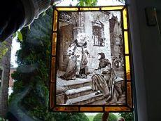 vetrata con bel soggetto medioevale - pittura su vetro / Handgemalte Bleiverglasung / steined glass hand painted /