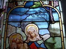 """bellissima """"Pietá""""  Madonna straziata dal dolore per la morte die Cristo /Pietá in reneissance stil, fantastische Bemalung auf Glas / steined glass """"Pietá"""""""