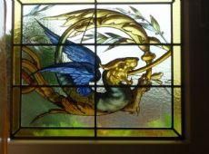 vetrata pitturata con bellssima raffigurazione di dragoni, Bleiverglasung glasmalerei, steined glass