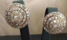 PENDIENTES DE TRES RONDAS CON PARCHE 5 CT DIAMOND