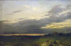 Pintura de paisaje que representa al atardecer con cifras