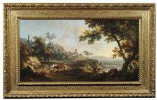 Витторио Амедео Сигнарол (Турин 1730-1800) - Речной пейзаж с мужиком