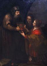 Dipinto ad olio su tela raffigurante: Conversione di Santa Caterina d'Alessandria - Un frate dona una Santa immagine mariana a due donne
