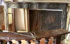chl068 chimenea de madera de nogal tallada con motivos florales período de Louis XIV mis.225 xh 133 piso 16 cm