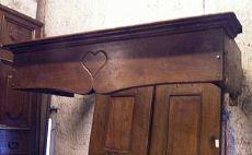 chl115 hotte de cheminée avec le coeur, noyer, mis.136 cm x 60 cm prof.